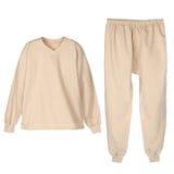 Set of warm winter beije underwear stock images