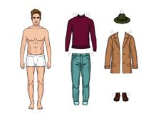 Set of warm winter casual clothes for men. The guy in the underwear is standing in front. Paper doll of a man. Set of warm winter casual clothes for men Stock Image