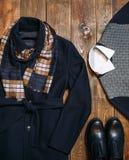 Set of warm winter classic men's clothing Stock Photos