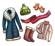 Set of warm winter clothes and accessories. Fashionable set clothes. Scarf, winter hat, winter coat, boots, warm gloves Stock Images