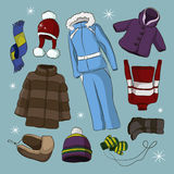 Set of warm winter clothes design Royalty Free Stock Images