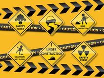 Set of warning caution sign Stock Photography