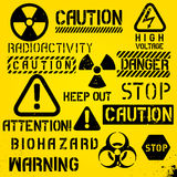 Set Of Warning Hazard Symbols Stock Photo