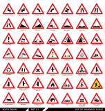 Set of warning road signs. Royalty Free Stock Image