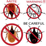 A set of warning sign. Spider mites. Red mite. Mite allergy. Epidemic. Mite parasites illustration Stock Image