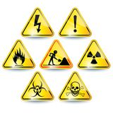 Set of warning signs. Set of seven yellow warning signs Royalty Free Stock Image