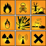Set of warning signs. Stock Photos