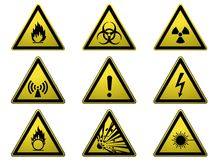 Set of warning signs. Yellow warning signs indicating danger Stock Photo