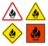 Set of warning signs flammable triangular, square with yellow an. D red Stock Photography