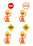 Set of warning signs Stock Images