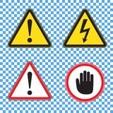 Set of warning signs for security clearance: danger sign, high voltage sign, red attention sign with palm royalty free illustration