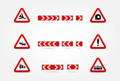 Set of Warning traffic signs Stock Photo