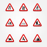 Set of Warning traffic signs Stock Photos
