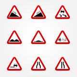 Set of warnings road signs Royalty Free Stock Images