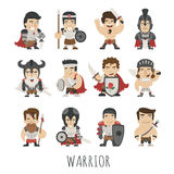 Set of warrior costume characters Stock Images