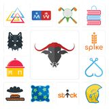 Set of, warrior head, stick figure, pillow, happy thanksgiving, fishing hook, homemade food, spike, wolf face icons. Set Of 13 simple editable icons such as Stock Photo