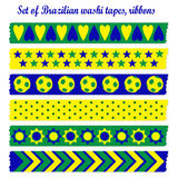 Set of washi tapes, ribbons in Brazilian colors Stock Photo