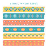 Set of washi tapes with trendy Aztec, Mexican or Navajo patterns, ethnic  Stock Photography