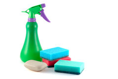 Set for washing dishes. With soap, sponges and sprayer Royalty Free Stock Photos