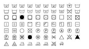 Set of washing instructions icons. Laundry symbols, label instructions for clothing Stock Images