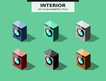 Set of washing machines in isometric style Stock Photography