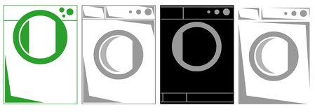 Set of Washing machines stylized isolated Stock Photo