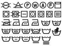 Set of washing symbols. Bleaching and Ironing instruction, Dry clean icon Royalty Free Stock Image