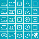Set of washing symbols (Laundry icons) Royalty Free Stock Photos