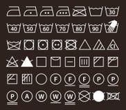 Set of washing symbols (Laundry icons) Stock Photos