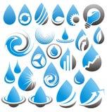 Set Wasser lässt Ikonen, Symbole, Zeichen und Auslegungselemente fallen lizenzfreie abbildung