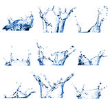 Set Wasser neun spritzt lizenzfreie stockfotografie