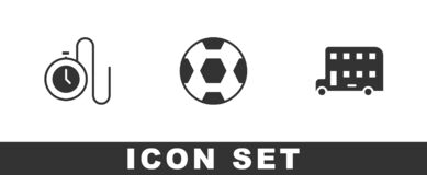 Set Watch with a chain, Football ball and Double decker bus icon. Vector