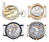 Set of watches with mechanical and quartz movement Royalty Free Stock Photos