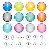 Set of watches sphere icons. Vector illustration of coloured glossy and shiny watches sphere icon vector illustration