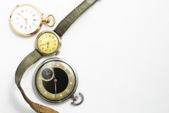 Set of vintage style watches on white background Royalty Free Stock Images