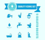 Set of water and bathroom icon with blue tape accent royalty free illustration