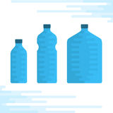 Set of water bottles. Vector illustration of a set of bottles of drinking water. Icon, a template for further use infographics Stock Images