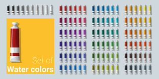 Set of water color tubes Stock Photos
