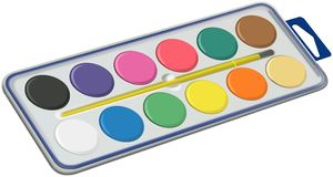 Set of water colors with brush in box Royalty Free Stock Photo