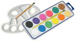 Set of water colors with brush and palette Stock Photos