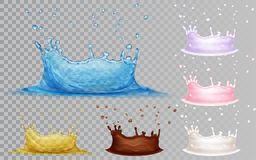 Set of water crown with drops. Transparent crowns of light blue water and yellow oil. Opaque crowns of milk, chocolate and yoghurt with drops. Water crown stock illustration