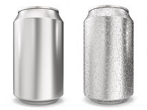 Set, water drops on aluminum cans, realistic 3d rendering isolated on white background Stock Photography