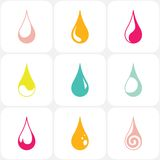 Set of water drops. In colors. Vector illustration royalty free illustration