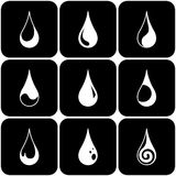 Set of water drops. Of different kind. Vector illustration Stock Photo