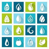 Set of water drops icons Stock Image