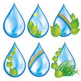 Set of water drops with leaves. Set of water drops with fresh green leaves and grass, rainbow and sun, isolated on white background. Elements for eco design Stock Photos