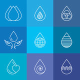 Set of water drops & nature vector - abstract logo templates & l Stock Photo