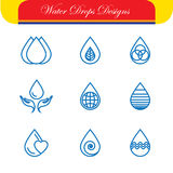 Set of water drops & nature vector - abstract logo templates & l Stock Image
