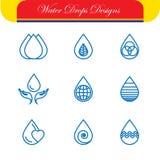 Set of water drops & nature vector - abstract logo templates & l Stock Image
