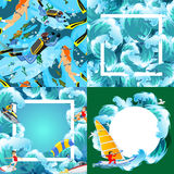 Set of water extreme sports backgrounds Stock Image